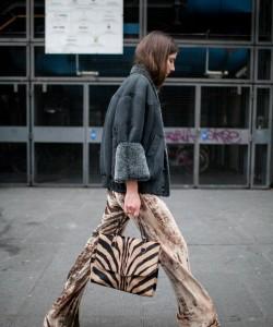 velvet flares + shearling jacket