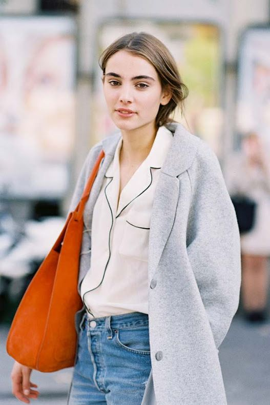 A pajama-style piped shirt beautifully styled with vintage wash high rise jeans and the softest grey coat.