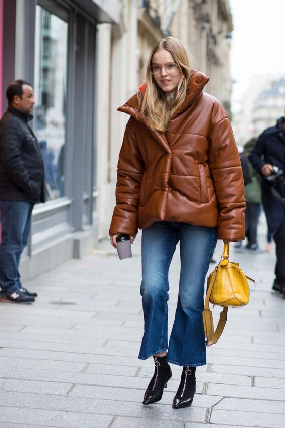 Brown Leather Puffer Jacket via Fashionista.com