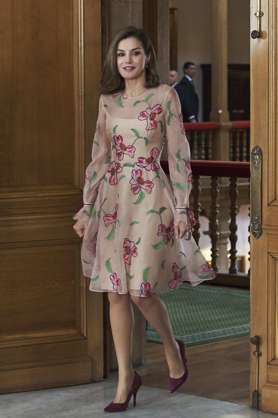 Queen Letizia of Spain kept it sweet and feminine in this pink floral-embroidered dress by Carolina Herrera at the Princess of Asturias Awards.