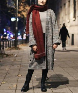 fashion hijab with checked coat