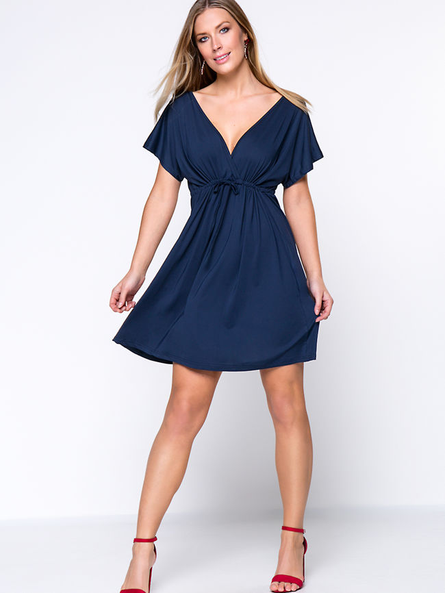 Deep V-Neck Drawstring Plain Plus Size Flared Dress