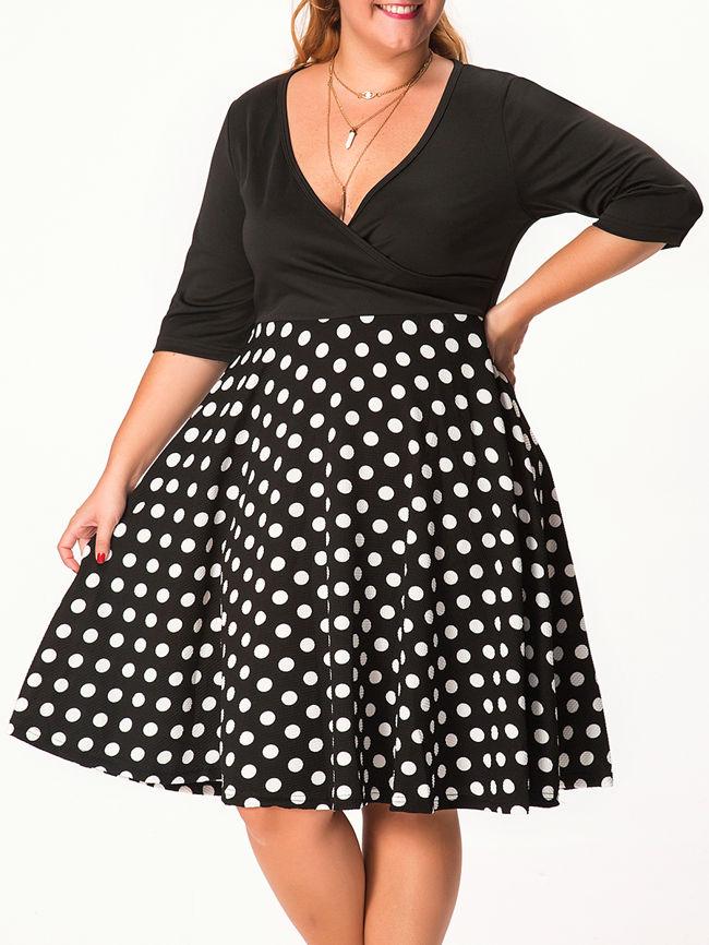 Deep V Neck Polka Dot Plus Size Flared Dress