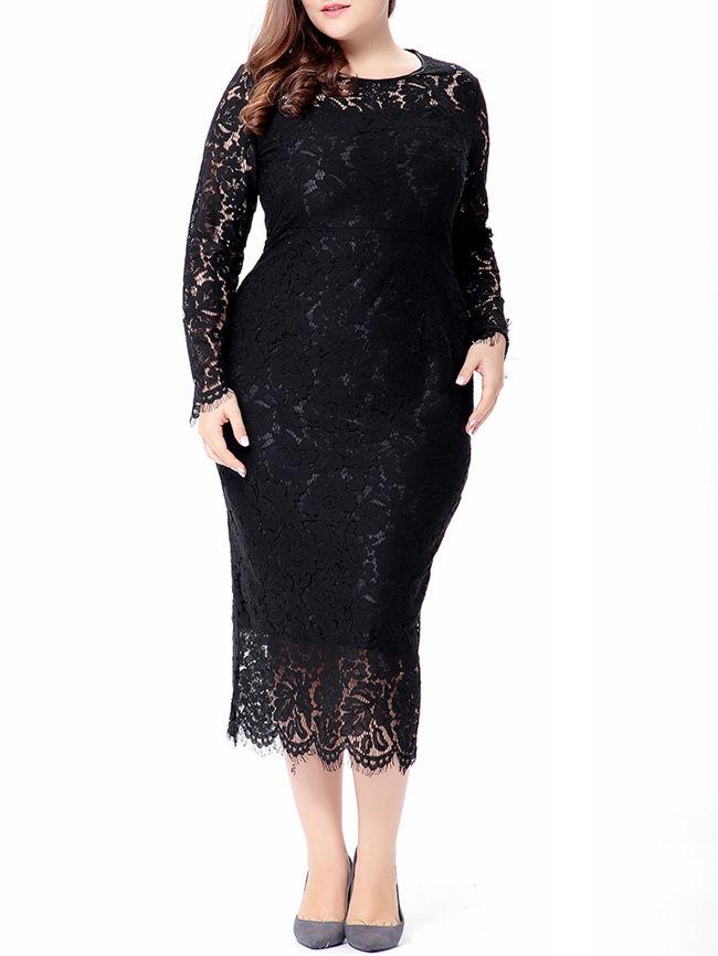 Graceful Crew Neck Hollow Out Plain Lace Plus Size Bodycon Dress