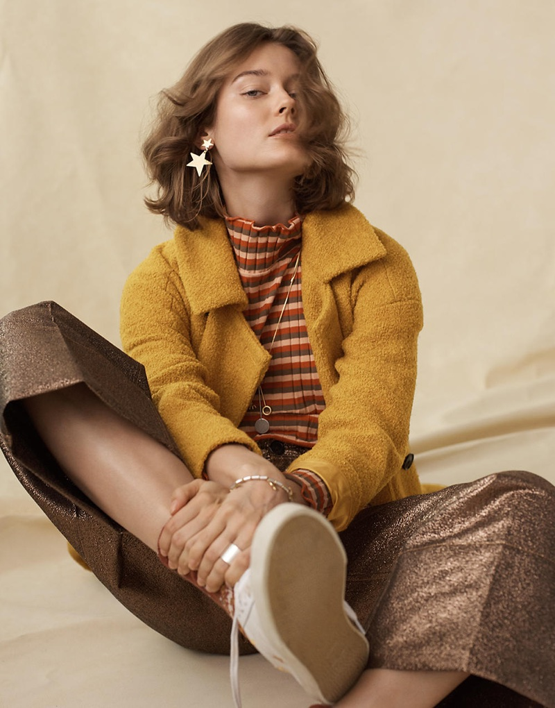 Madewell Bouclé Double-Breasted Coat, Ribbed Turtleneck Top in Stripe, Langford Wide-Leg Crop Pants in Metallic, Madewell x Veja Esplar Low Sneakers in Embroidered Stars and Star Statement Earrings