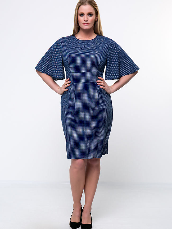 Polka Dot Cape Sleeve Round Neck Plus Size Bodycon Dress