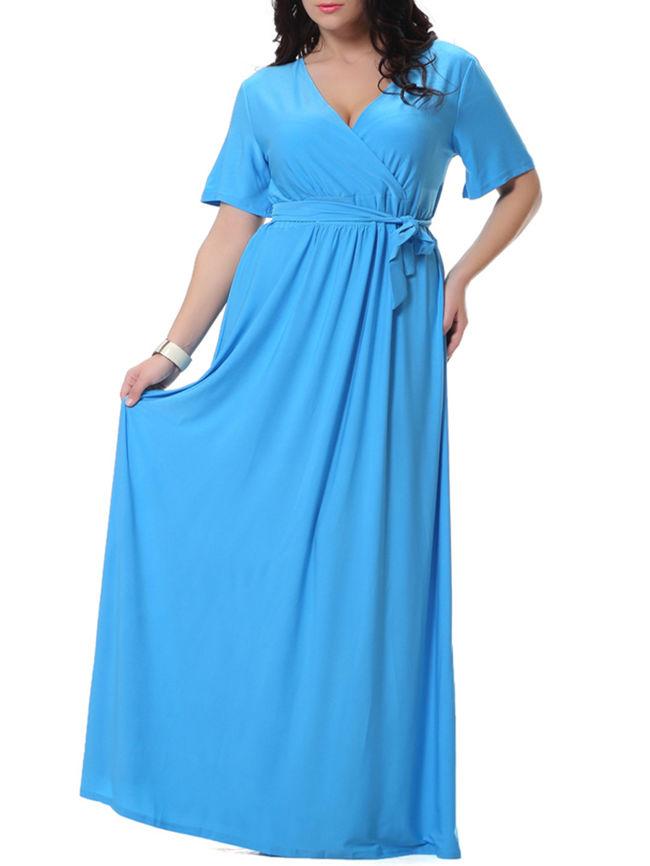 Solid Deep V-Neck Bowknot Empire Plus Size Maxi Dress