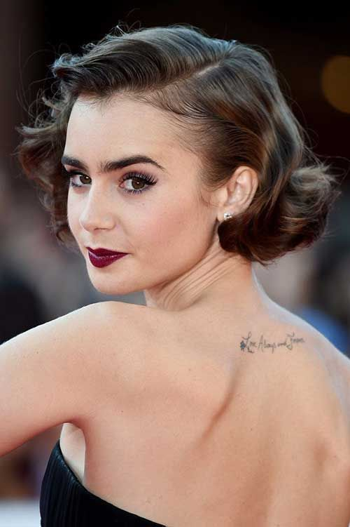 Lily Collins Short Retro Hairstyles