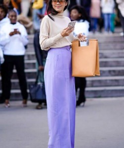 Yoyo Cao wears purple pants outside Elie Saab during Paris Fashion Week Womenswear Spring-Summer 2018