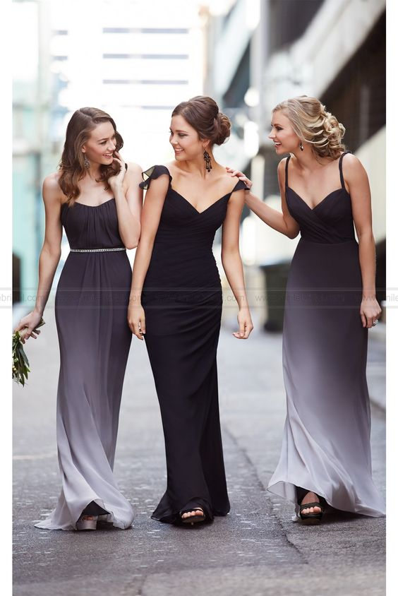 Black Ombre Bridesmaid Dress Style
