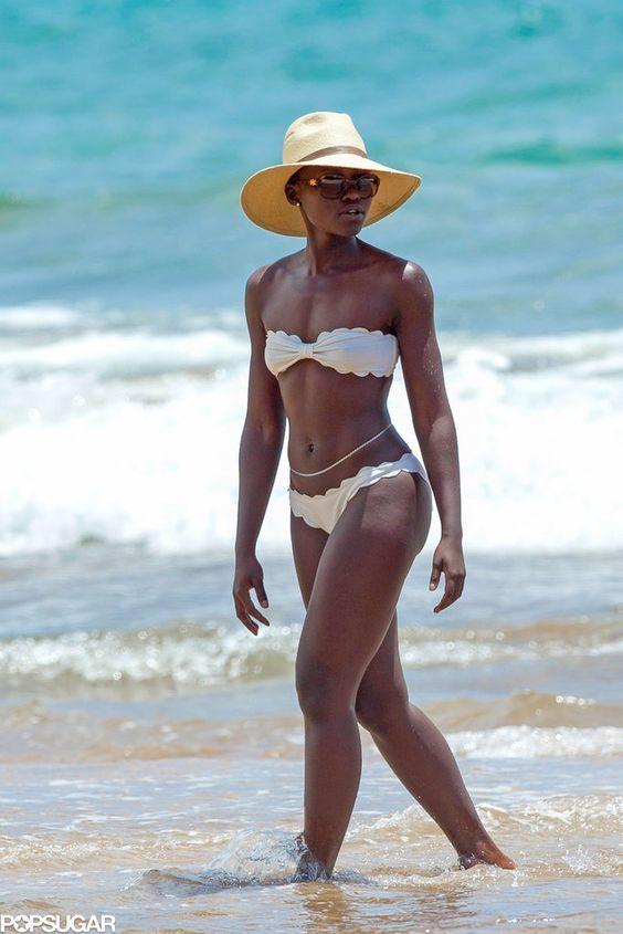 Lupita Nyong'o showed off her enviable beach body in a white Marysia bikini
