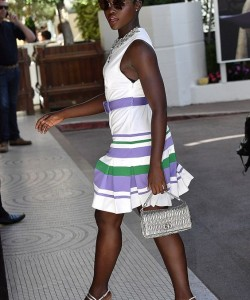 Lupita Nyong'o showed off her sartorial elegance in a 1920s-inspired drop waist dress as she arrived at a hotel during the Cannes Film Festival 2017