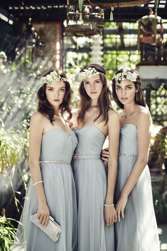 light grey strapless sweetheart bridesmaids' dresses