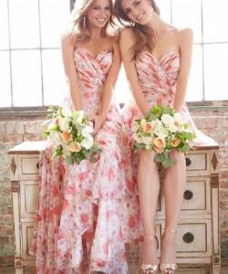 red printed flowers bridesmaid dresses