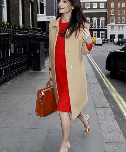 Amal Clooney steps out in a red midi dress