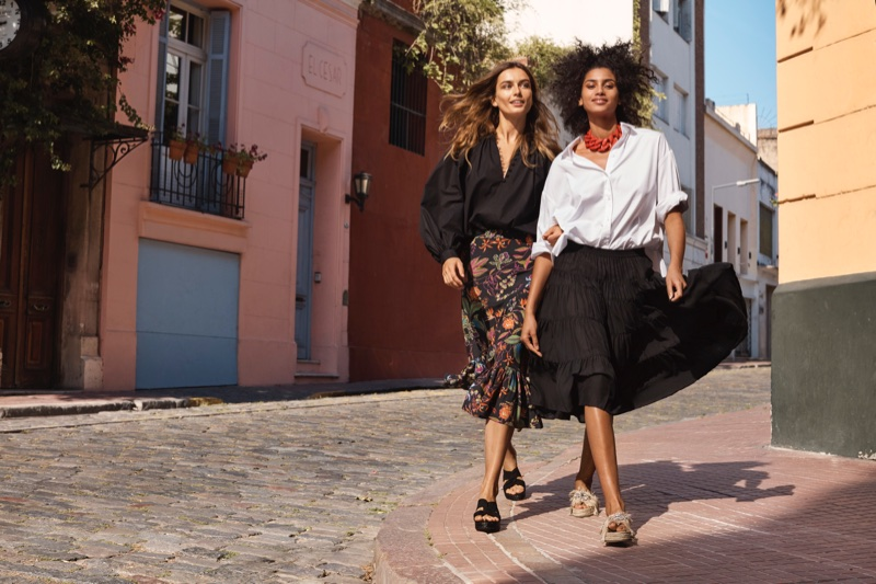 Andreea Diaconu and Imaan Hammam appear in H&M's spring 2018 campaign