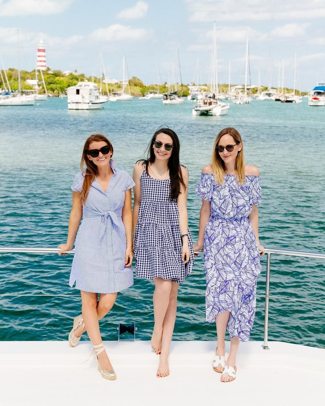 Take a tip in bestie boating chic care of @carly and crew's blue hued frocks