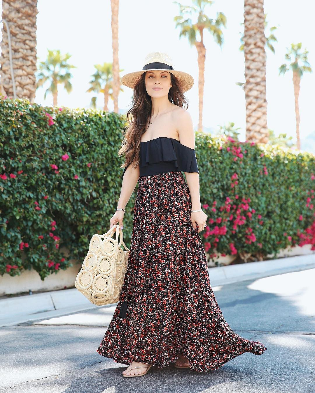 When you can throw on a maxi skirt with your off the shoulder swimsuit