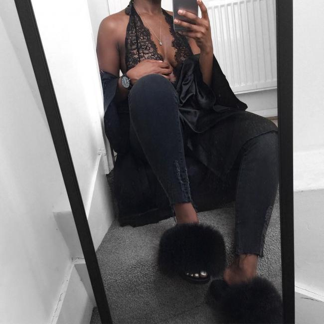 @charliekamale haute acorn black-fur-slides-outfit