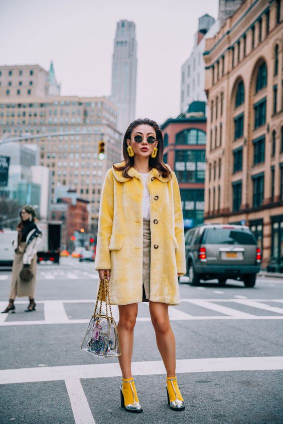 NYFW 2018 Street Style - Yellow Shrimps Coat with Chanel Clear Bag