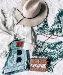 PALM BIKINI, tropical vacation outfit idea, summer, denim shorts, straw bag and hat