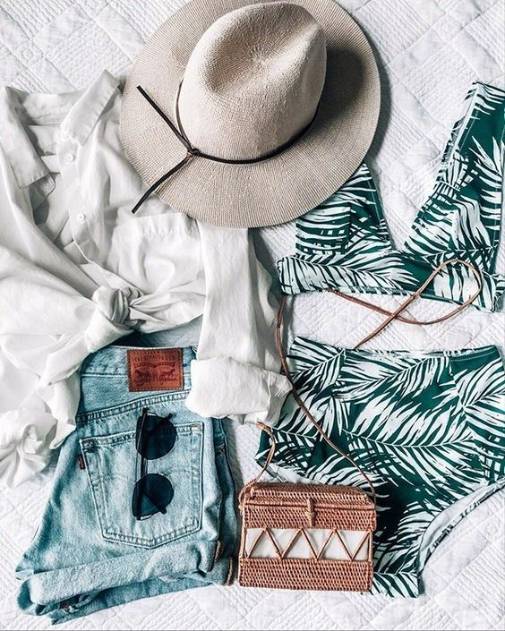 PALM BIKINI, tropical vacation outfit idea, summer, denim shorts, straw bag and hat