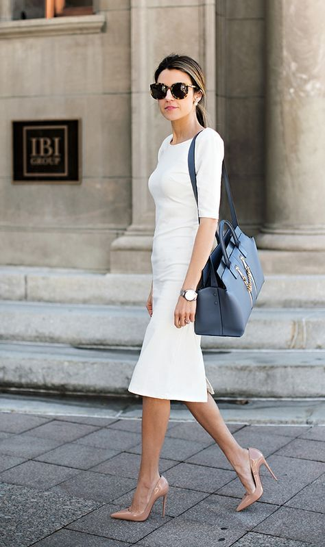 Formal Outfit with WHITE MIDI PENCIL DRESS