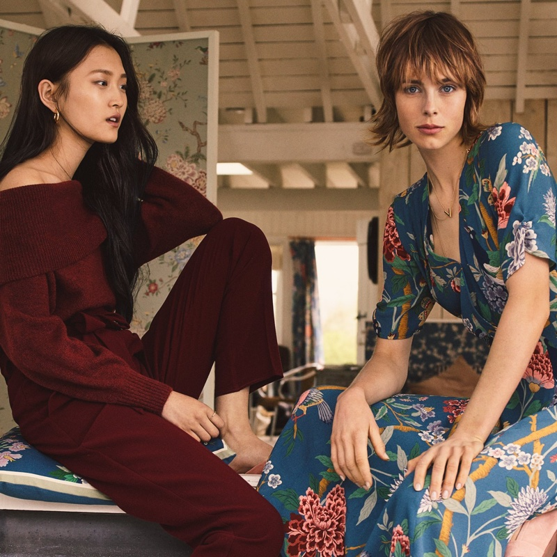 (Left) H&M Off-the-Shoulder Sweater and Pants (Right) H&M x GP & J Baker Patterned Dress