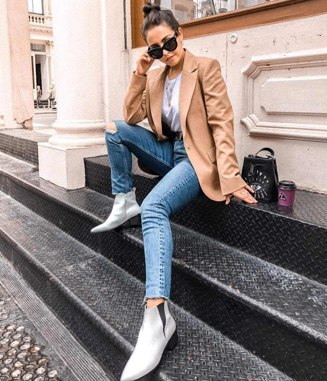 @gabriellazacche's camel chic and metallic take on vintage wash denim