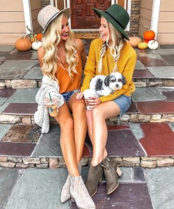 coffee break chic with your bestie and furry friend a la @peyton.baxter