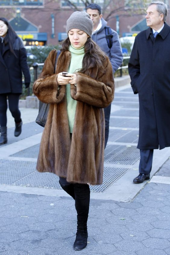 cozy new yorker in boots wool shirt and mink coat