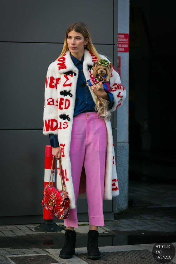 Veronica Heilbrunner in lilac pants, petrol long sleeve shirt and a statement Gucci mink coat !
