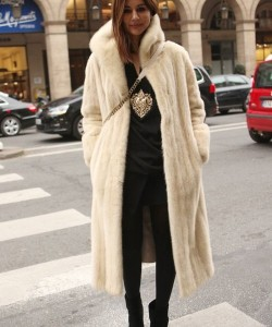 pearl mink long coat with black pants and top