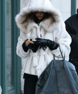 white mink jacket with hood