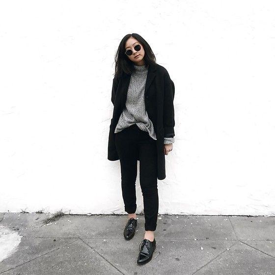Tiffany Wang - Everlane Oxfords, Everlane Cocoon Coat, H&M Sweater, Zara Pants
