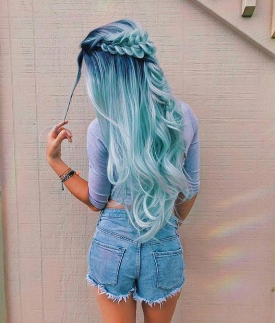 Long Green Pastel hair color