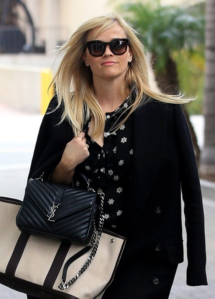 Reese Witherspoon showed off a chic black Saint Laurent quilted bag