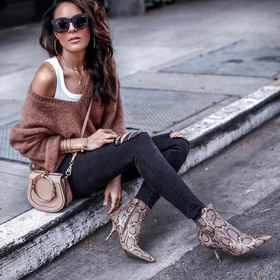 @lucyswhims' slouchy sweater and snakeskin booties