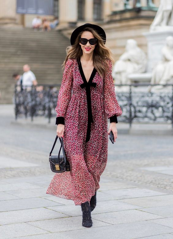 Alexandra Lapp- Boho Style- red and cream floral print maxi dress with black ribbon tie detail and ankle boots