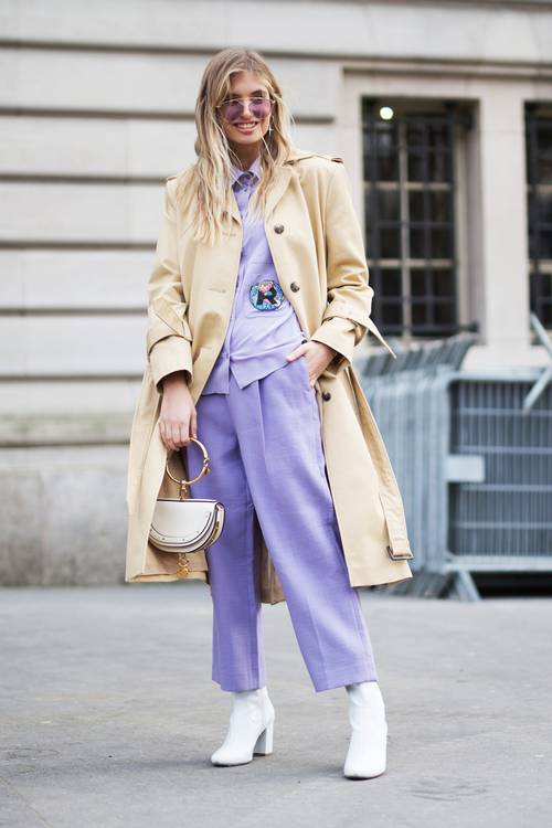Layering + white accessories + a purple outfit