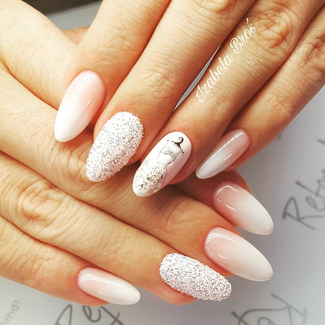 Glitter Nails With Wedding Dress Design
