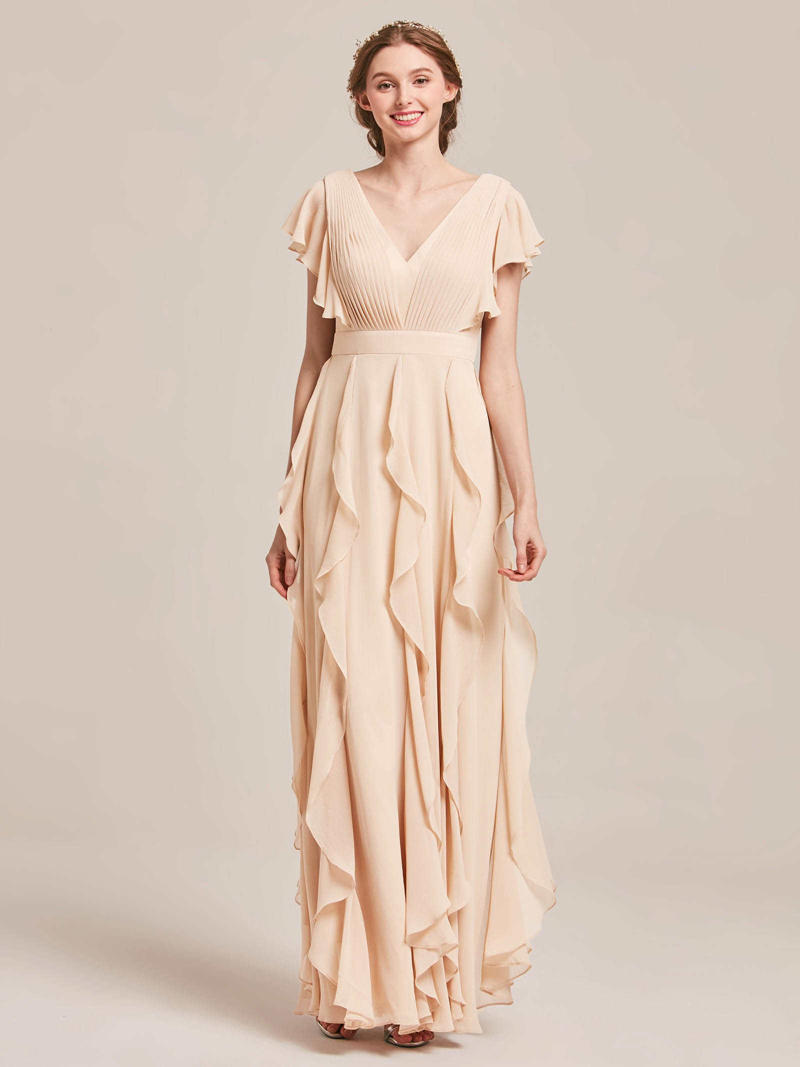 Alfreda Butterfly Sleeves V-Neck Bridesmaid Dress with Ruffles