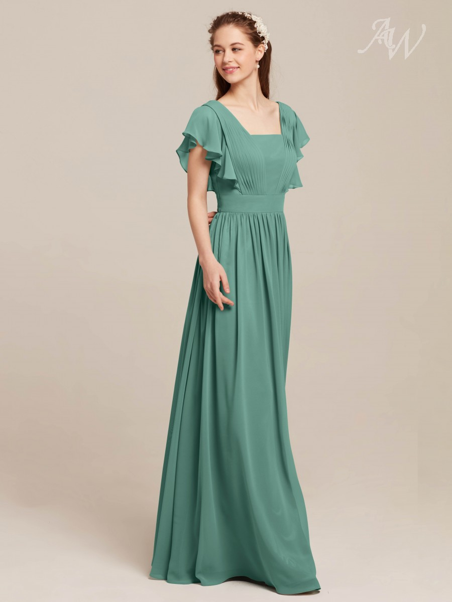 Clemmie Square Neck Butterfly Sleeves Long Formal Dresses-Honeydew