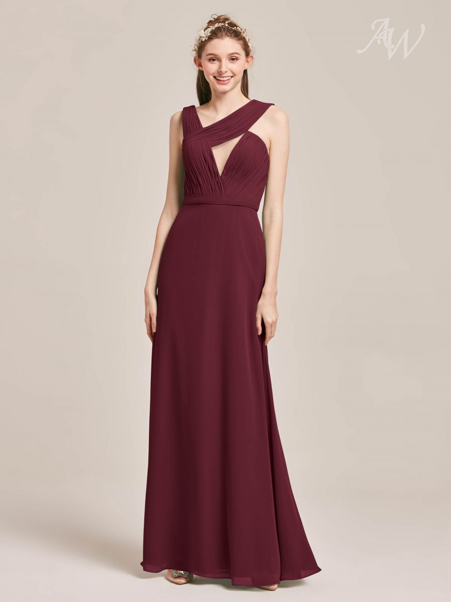Simone Asymmetrical Neckline Pleated Long Bridesmaid Dress