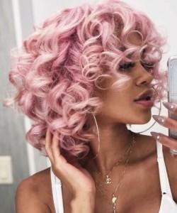 pink curly hair with bang