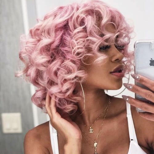 pink curly hair with bang