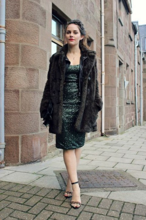 a dark green sequin knee dress, animal print shoes and a faux fur coat to feel comfy