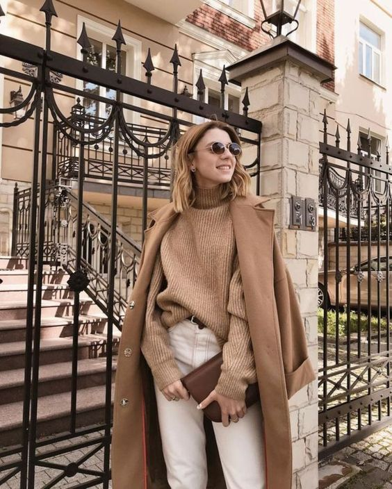 Neutral Turtleneck Look Ideas To Keep You Warm And Stylish