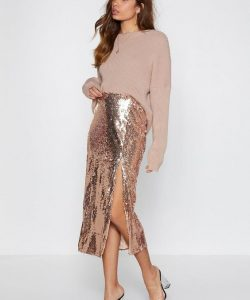 Shine Skirt features a high-waisted