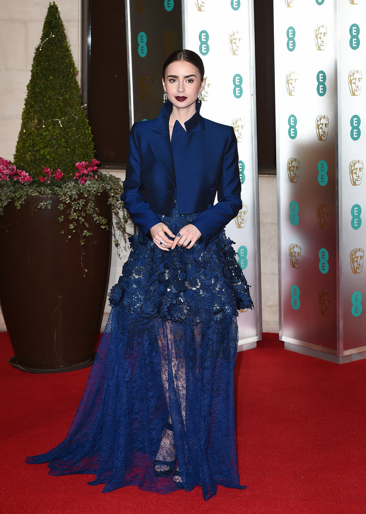 Lily Collins' Cropped Jacket And Lace Gown Combo
